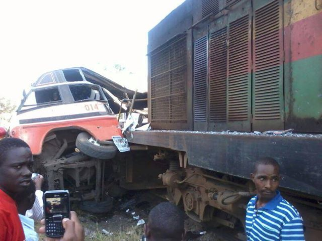 KENYA: The scene of an accident involving a train and a passenger bus.
